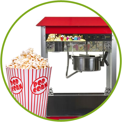 Výrobník popcornu, cukrové vaty, ledová tříšť a další mňamky