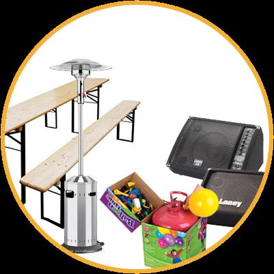 Párty stany, lavice a stoly, zvuková aparatura, topidla...