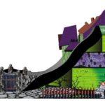 Fotografie 3. Velký skákací hrad se skluzavkou STRAŠIDELNÝ DŮM – extra maxi XXXL